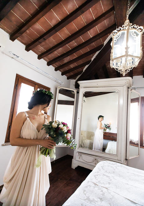 bedroom of the Bridal Suite in a Tuscan Villa