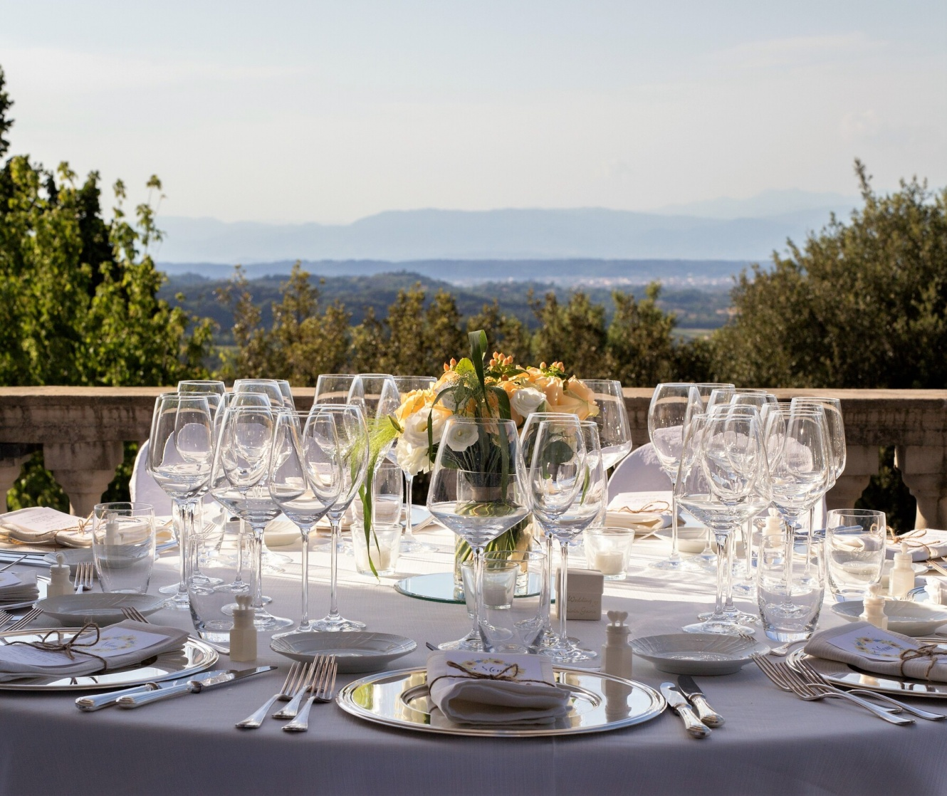 Wedding banquet on a panoramic terrace in Tuscany
